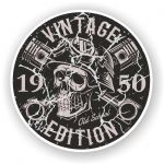 Distressed Aged Vintage Edition Year Dated 1950 Biker Skull Roundel Vinyl Car Sticker Decal 87x87mm